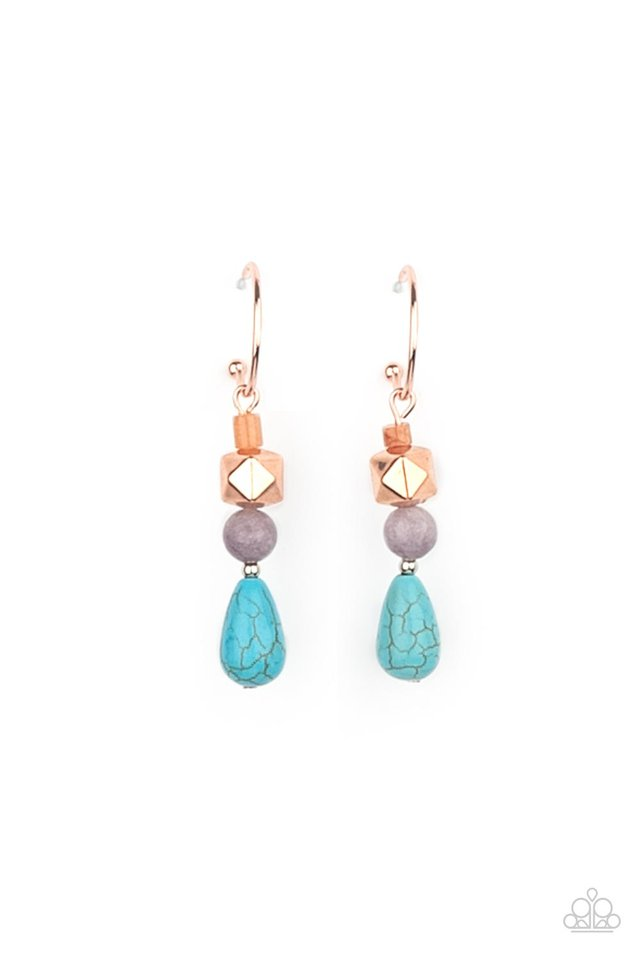 Boulevard Stroll - Copper - Paparazzi Earring Image