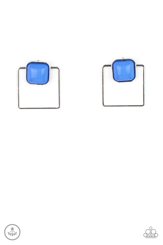 FLAIR and Square - Blue - Paparazzi Earring Image