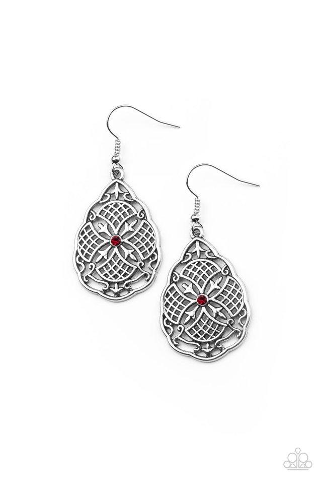 Paradise Picnic - Red - Paparazzi Earring Image