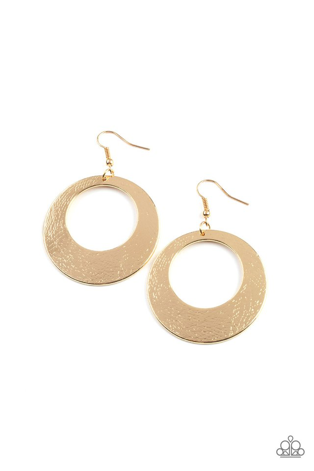 Outer Plains - Gold - Paparazzi Earring Image