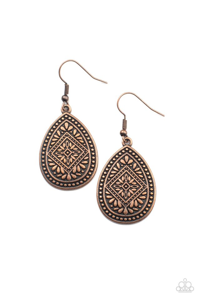 Mayan Mecca - Copper - Paparazzi Earring Image
