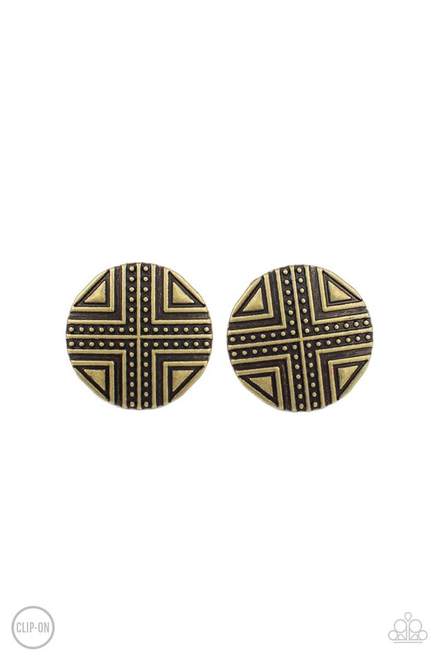 Shielded Shimmer - Brass - Paparazzi Earring Image