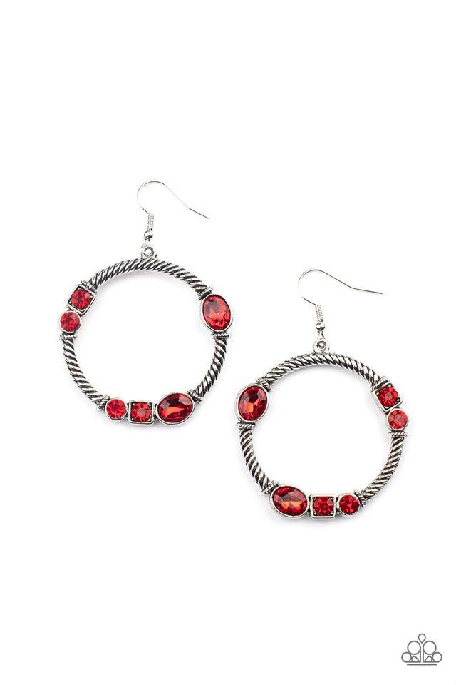 Glamorous Garland - Red - Paparazzi Earring Image