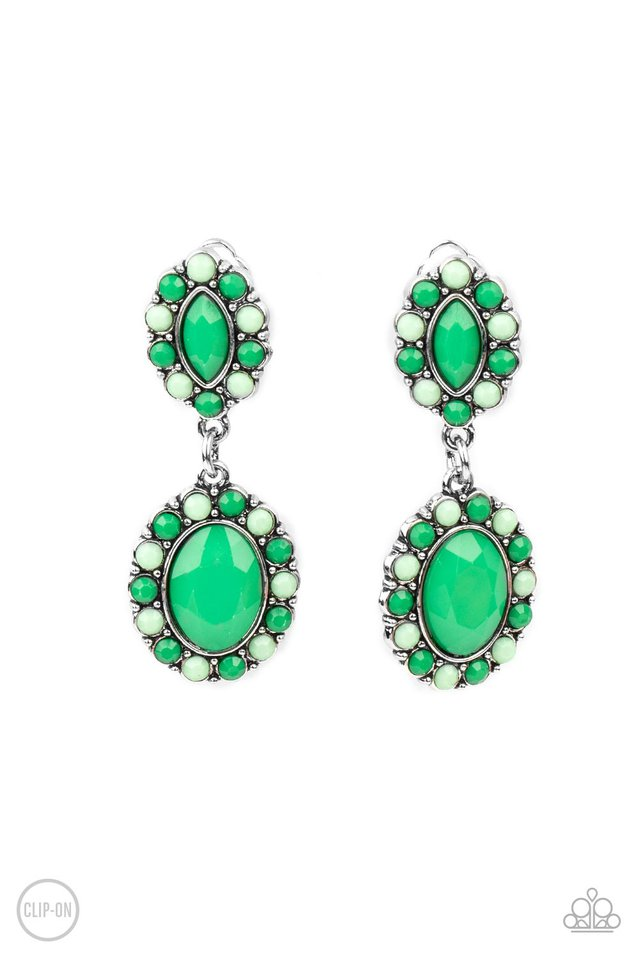 Positively Pampered - Green - Paparazzi Earring Image