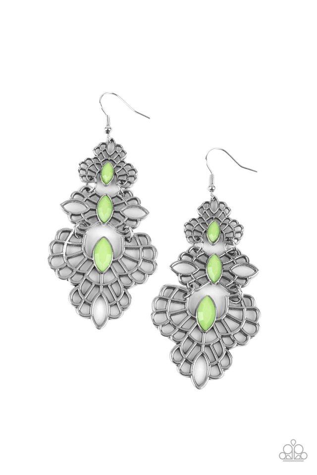 Flamboyant Frills - Green - Paparazzi Earring Image