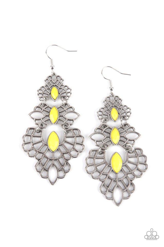Flamboyant Frills - Yellow - Paparazzi Earring Image