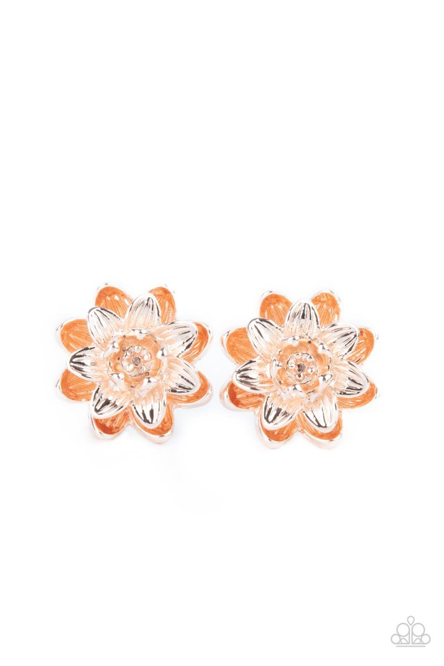 Water Lily Love - Rose Gold - Paparazzi Earring Image
