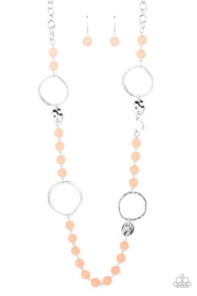 Sea Glass Wanderer- Orange - Paparazzi Necklace Image