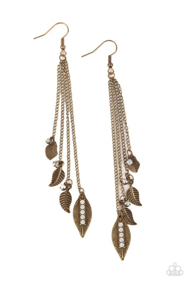 Chiming Leaflets - Brass - Paparazzi Earring Image