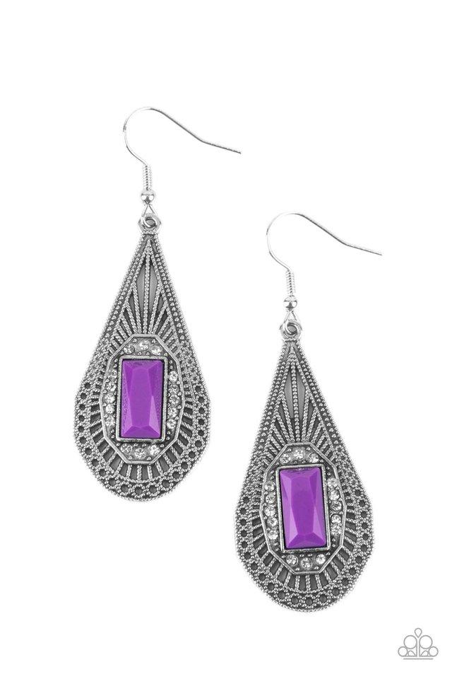 Deco Dreaming - Purple - Paparazzi Earring Image