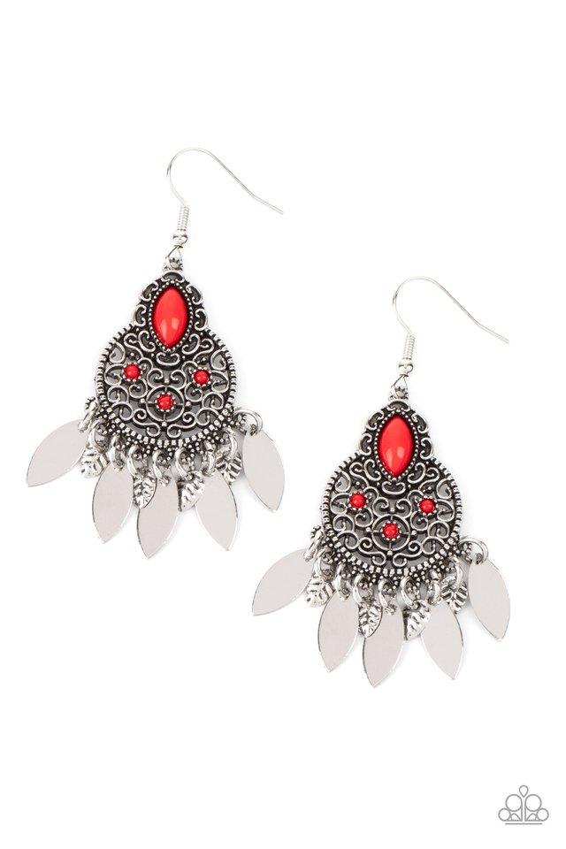 Galapagos Glamping - Red - Paparazzi Earring Image