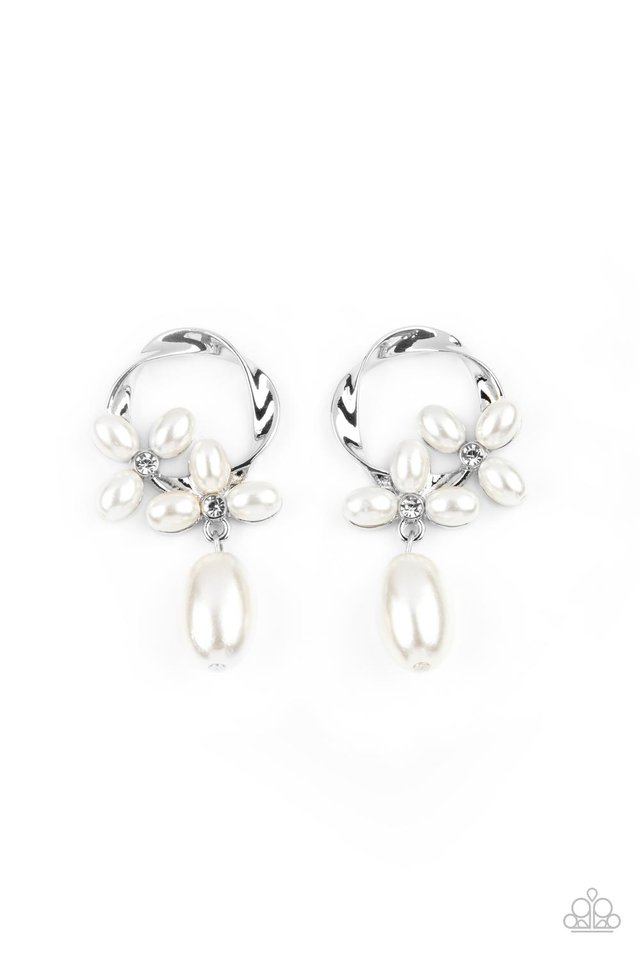 Elegant Expo - White - Paparazzi Earring Image
