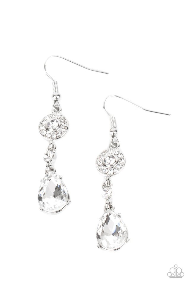 Graceful Glimmer - White - Paparazzi Earring Image