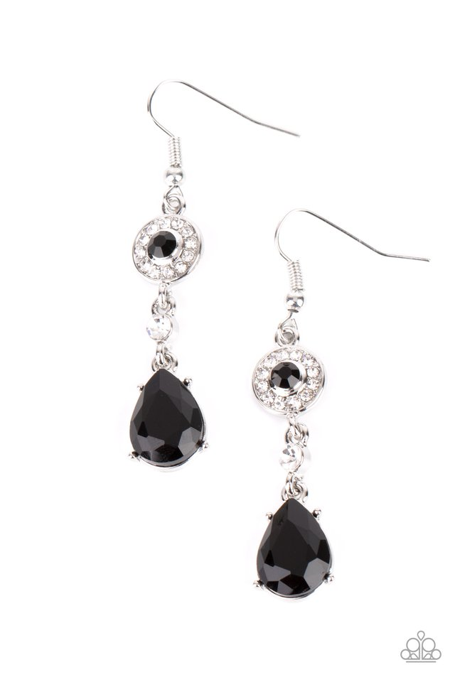 Graceful Glimmer - Black - Paparazzi Earring Image
