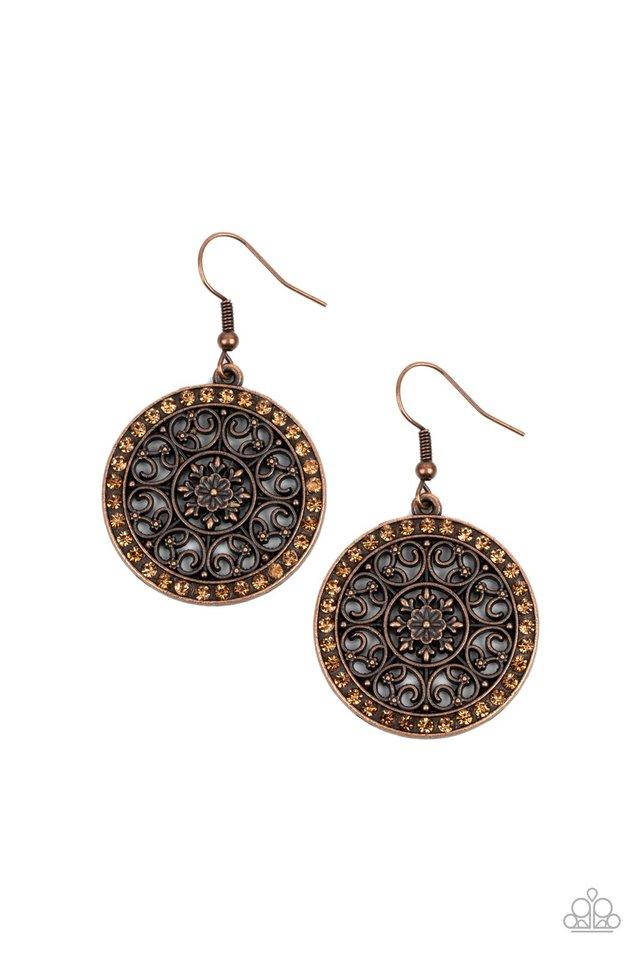 Bollywood Ballroom - Copper - Paparazzi Earring Image
