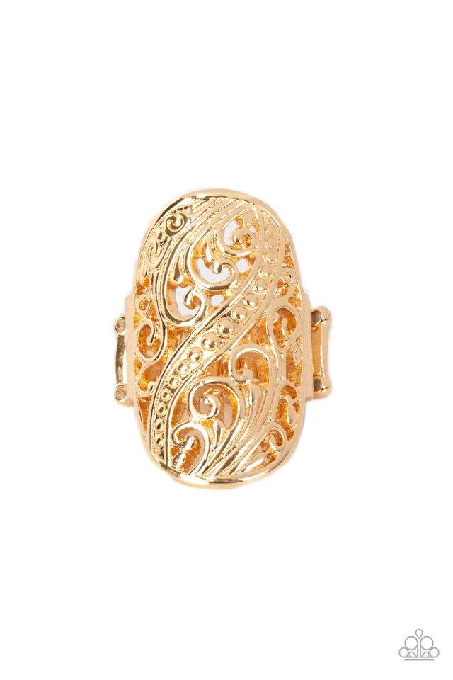 Pier Paradise - Gold - Paparazzi Ring Image