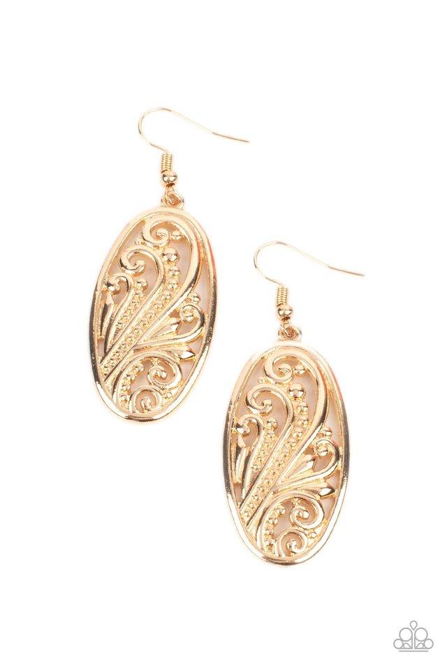 High Tide Terrace - Gold - Paparazzi Earring Image