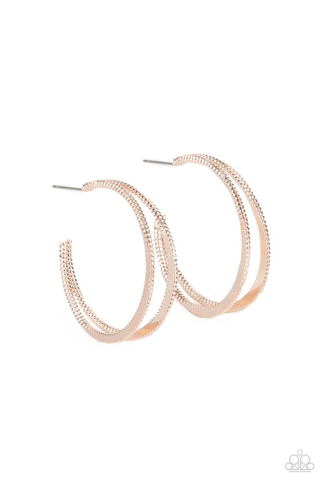 Rustic Curves - Rose Gold - Paparazzi Earring Image