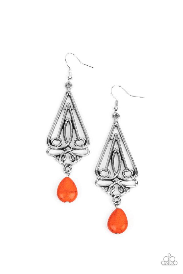 Transcendent Trendsetter - Orange - Paparazzi Earring Image