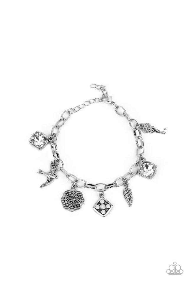Fancifully Flighty - White - Paparazzi Bracelet Image
