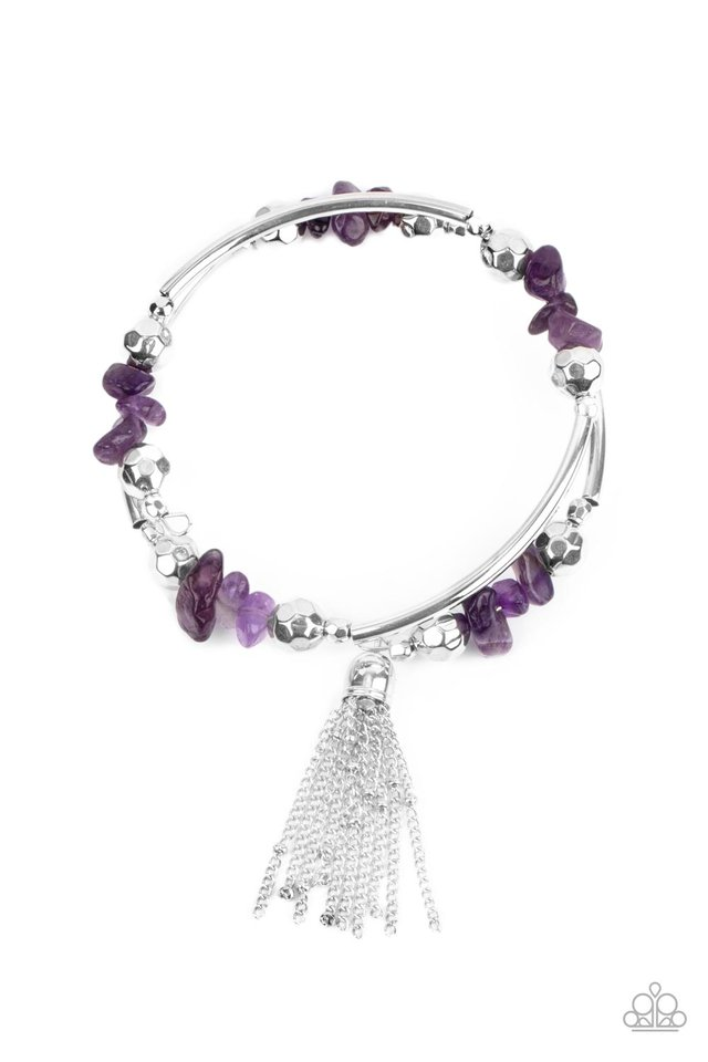Mineral Mosaic - Purple - Paparazzi Bracelet Image