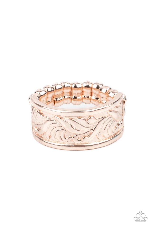 Billowy Bands - Rose Gold - Paparazzi Ring Image