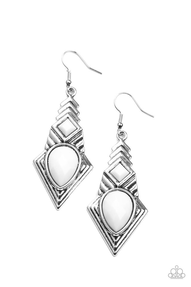 Stylishly Sonoran - White - Paparazzi Earring Image