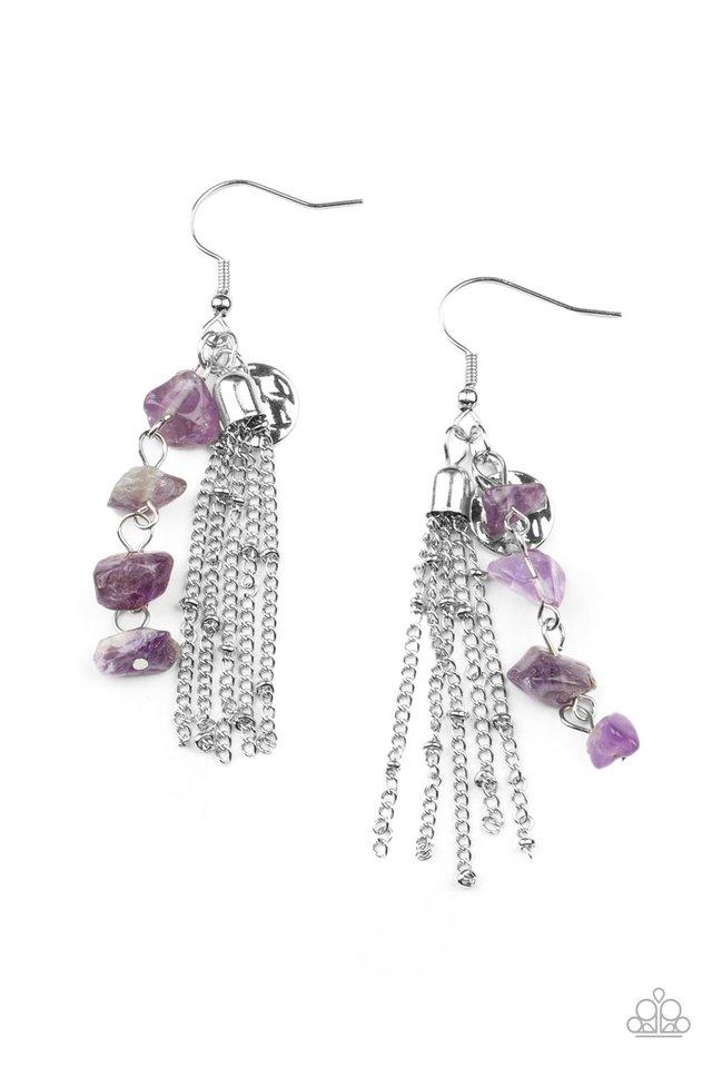 Stone Sensation - Purple - Paparazzi Earring Image