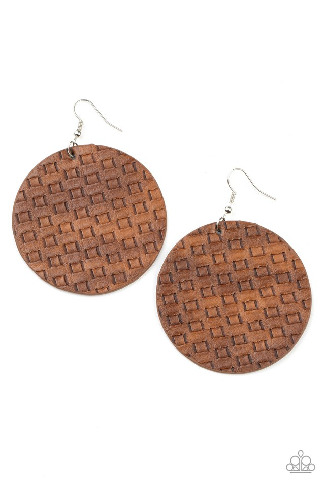WEAVE Me Out Of It - Brown - Paparazzi Earring Image
