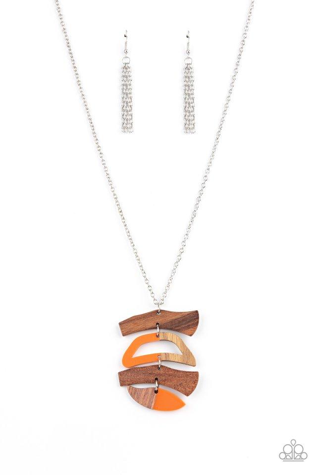A WOODWORK In Progress - Orange - Paparazzi Necklace Image
