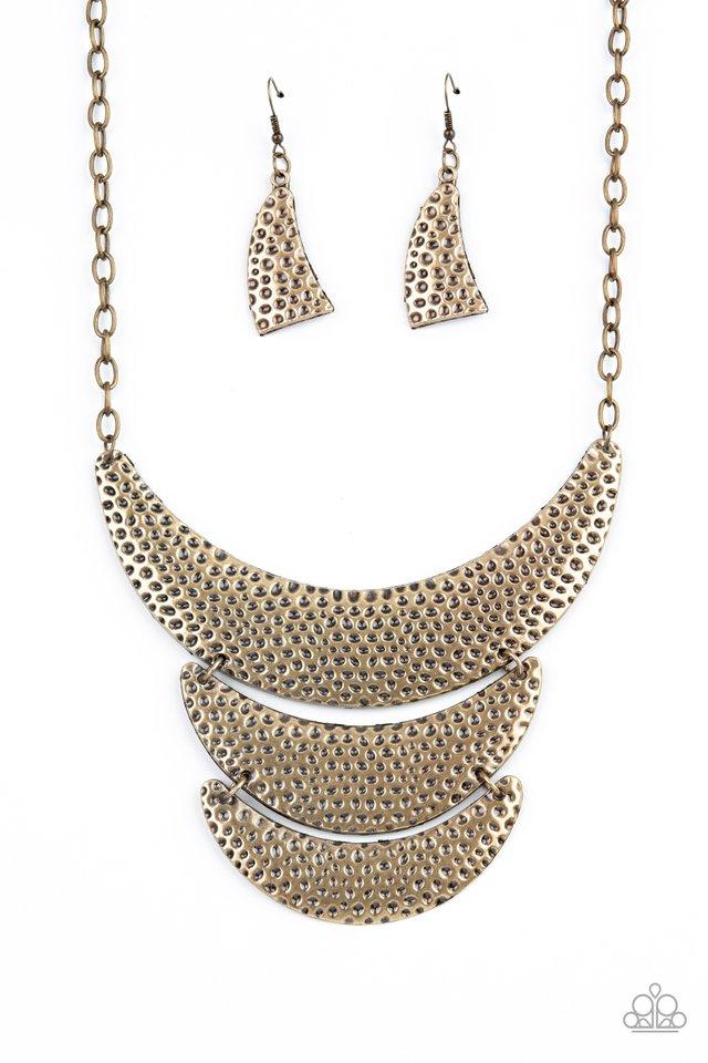 Moonwalk Magic - Brass - Paparazzi Necklace Image