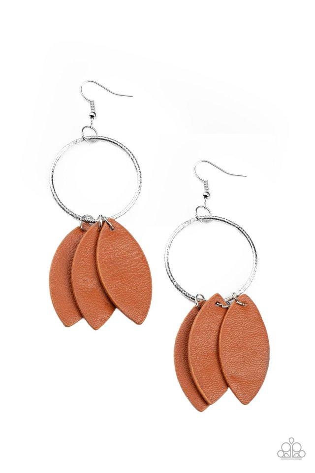Leafy Laguna - Brown - Paparazzi Earring Image