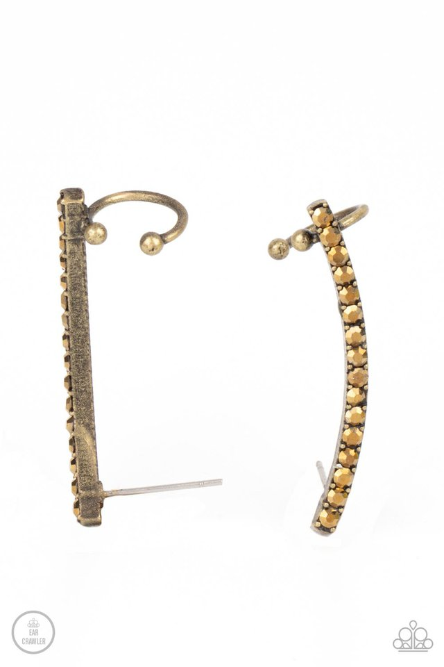 Give Me The SWOOP - Brass Post Earring - Paparazzi Earring Image