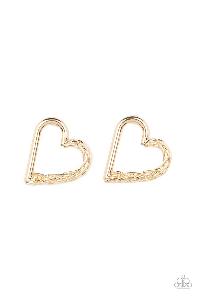Cupid, Who? - Gold - Paparazzi Earring Image