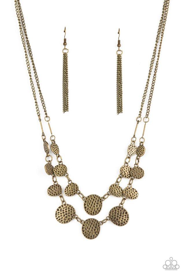 Pebble Me Pretty - Brass - Paparazzi Necklace Image