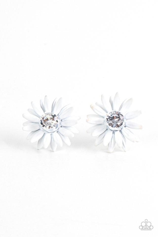 Sunshiny DAIS-y - White - Paparazzi Earring Image